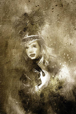 Vintage Drawing - Tribal Girl In A Storm by Georgiana Romanovna