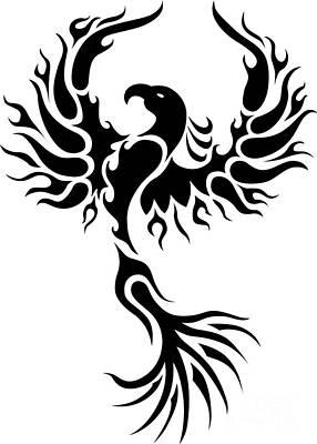 Phoenix Drawing - Tribal Phoenix by Robert Ball