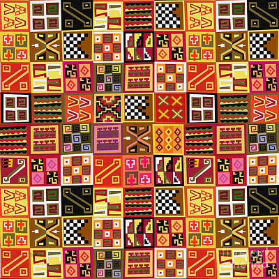 Patchwork Quilts Mixed Media - Tribal Quilt by Bedros Awak