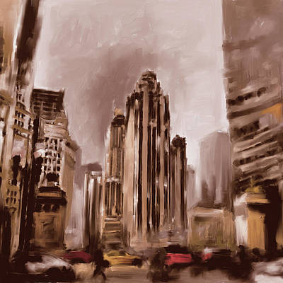 Historic Buildings Painting - Tribune Tower I 522 3 by Mawra Tahreem