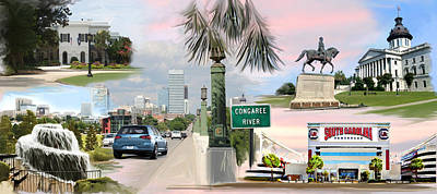 South Drawing - Tribute To Columbia Sc by Greg Joens