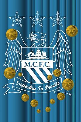Illustration Digital Art - Tribute To Manchester City 1 by Alberto RuiZ