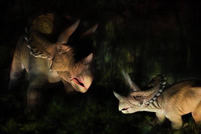 Dino Digital Art - Triceratops by Lori Deiter