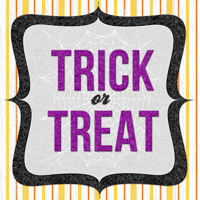 Trick Or Treat- Art By Linda Woods Print by Linda Woods
