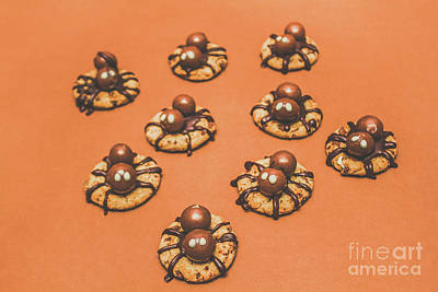 Tasty Photograph - Trick Or Treat Halloween Spider Biscuits by Jorgo Photography - Wall Art Gallery