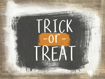 Trick Or Treat Sign- Art By Linda Woods Print by Linda Woods