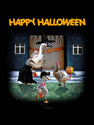 Geese Mixed Media - Trick Or Treat Time For Little Ducks by Gravityx9  Designs