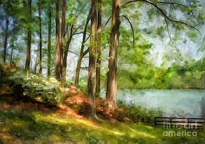 Suburban Digital Art - Tridelphia Lake In May by Lois Bryan