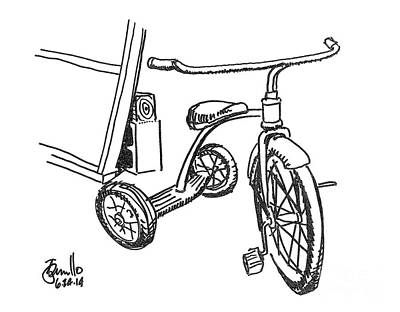 Tricycle Drawing - Trike by Andrew Cravello