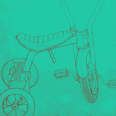 Tricycle Drawing - Trike On Turquoise by Valerie Reeves