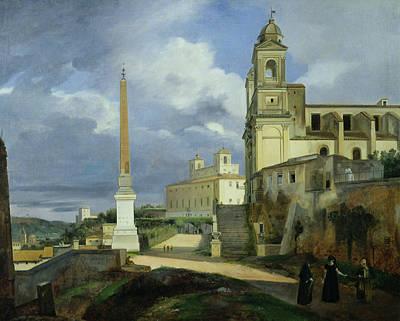 Trinita Dei Monti And The Villa Medici In Rome Print by Francois Marius Granet