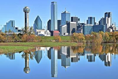 Downtown Area Photograph - Trinity Park Water Reflects The Big D by Frozen in Time Fine Art Photography