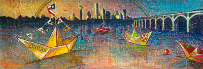 Dallas Skyline Painting - Trinity River Origami by Tanya Joiner Slate