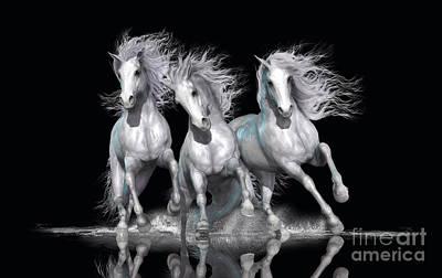 Black And White Horses Digital Art - Trinity by Shanina Conway