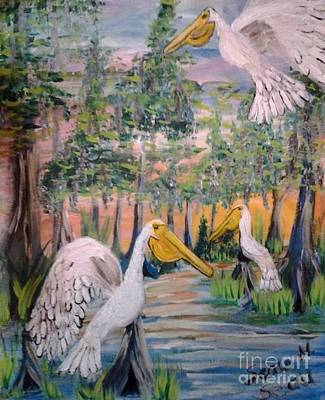 Gerry Painting - Trio Of Pelicans by Seaux-N-Seau Soileau