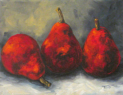 Pear Painting - Trio Of Red Pears  by Torrie Smiley
