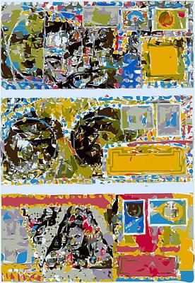 Xerox Art Mixed Media - Triple Stacked Decorative Envelopes by F Burton