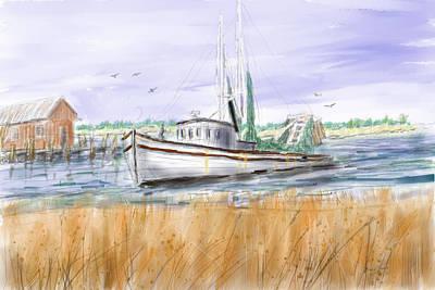 Trips End - Shrimp Boat Art Print by Barry Jones
