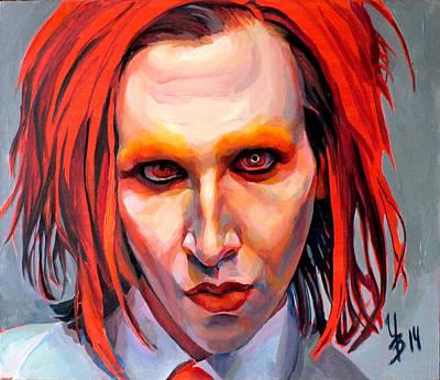 Manson Painting - Triptych Marilyn Manson. Central Part. by Inna Volvak