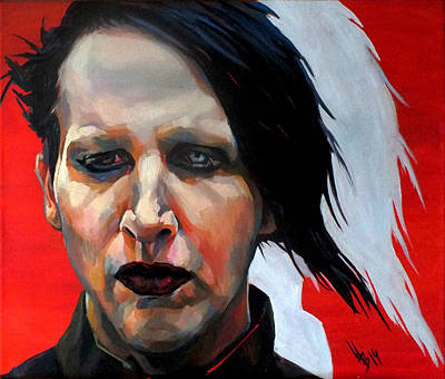 Manson Painting - Triptych Marilyn Manson. Right Part. by Inna Volvak