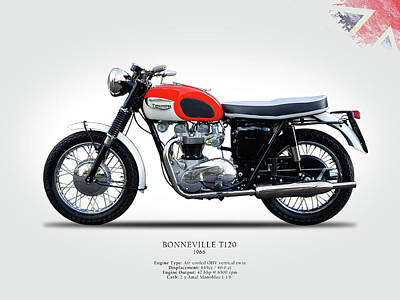 Classic Cycle Photograph - Triumph Bonneville 1966 by Mark Rogan