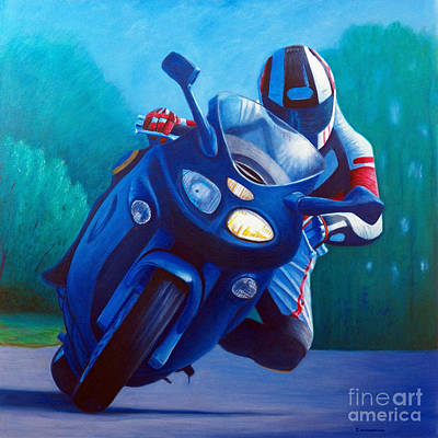 Bikes Painting - Triumph Sprint - Franklin Canyon  by Brian  Commerford