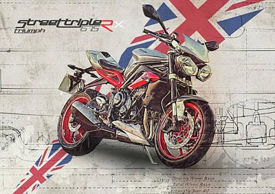 Drawing Digital Art - Triumph Street Triple Rx by Yurdaer Bes