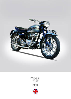 Motorcycle Photograph - Triumph Tiger 110 1956 by Mark Rogan