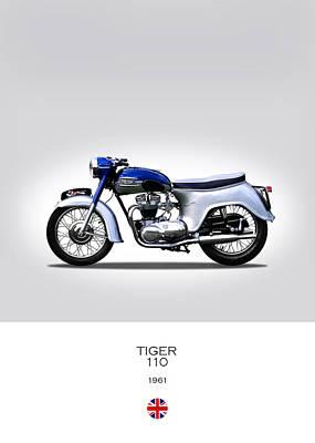 Vintage Motorcycle Photograph - Triumph Tiger 1961 by Mark Rogan