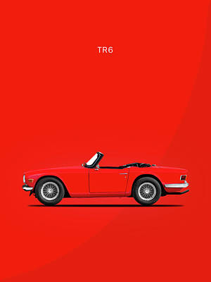 Triumph Tr6 In Red Print by Mark Rogan