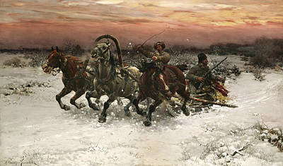 Polish Painters Painting - Troika Pursued By Wolves by Alfred Kowalski