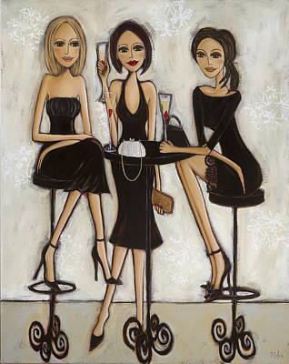 Trois Petites Robes Noires - 3 Little Black Dresses Print by Denise Daffara