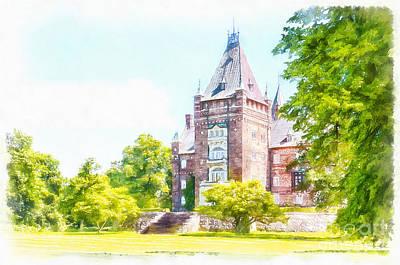 Sweden Digital Art - Trollenas Castle Digital Watercolor Painting by Antony McAulay