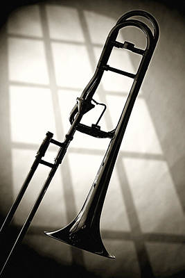 Trombone Silhouette And Window Print by M K  Miller