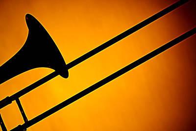 Trombone Photograph - Trombone Silhouette On Gold by M K  Miller