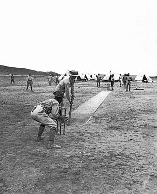 Troops Playing Cricket Print by Underwood Archives