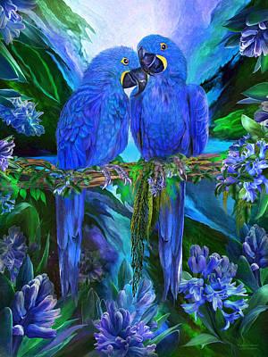 Tropic Spirits - Hyacinth Macaws Print by Carol Cavalaris
