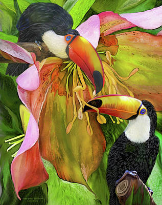 Toucan Mixed Media - Tropic Spirits - Toco Toucans by Carol Cavalaris