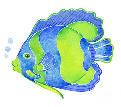 Tropical Blue Angel Fish Print by Laura Nikiel