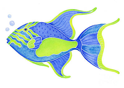 Tropical Blue Triggerfish Print by Laura Nikiel