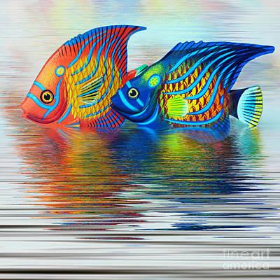 Colorful Tropical Fish Digital Art - Tropical Fish Reflecting By Kaye Menner by Kaye Menner