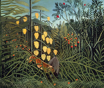 Rousseau Painting - Tropical Forest  Battling Tiger And Buffalo by Henri Rousseau