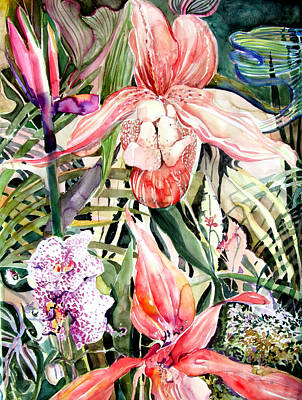 Orchids Drawing - Tropical Orchids by Mindy Newman