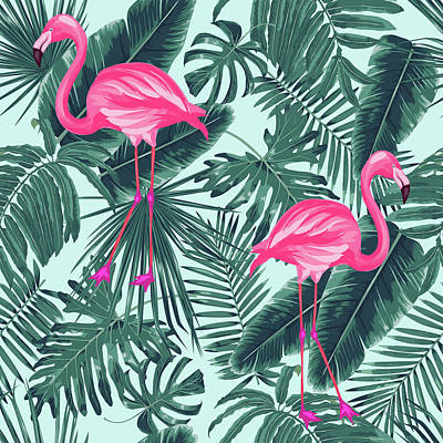 Tropical Pink Flamingo Print by Mark Ashkenazi