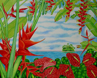 Heliconia Painting - Tropical Red by Joel Carlson
