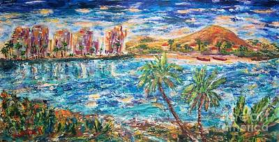 Sunset Painting - Tropical Resort by Mary Sedici