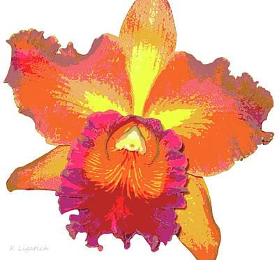 Orchids Digital Art - Tropical Sunrise Orchid by Kerri Ligatich