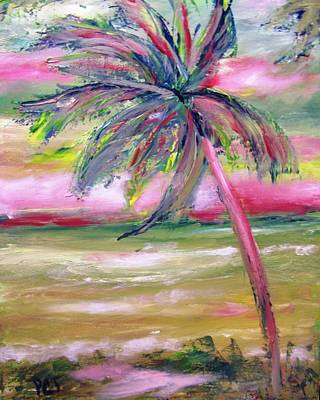 Incoming Tide Painting - Tropical Sunset In Pink With Palm Tree by Patricia Taylor
