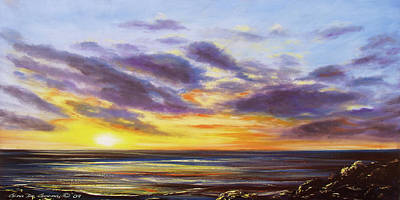 Tropical Sunset Panoramic Painting Print by Gina De Gorna