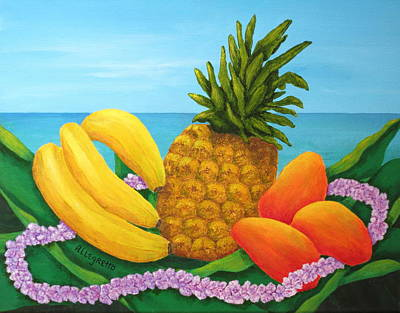 Mango Painting - Tropical Trinity by Pamela Allegretto